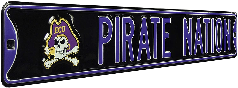 NCAA Pirate Nation East Carolina Logo Street Signstreet Sign, Team Color, 36