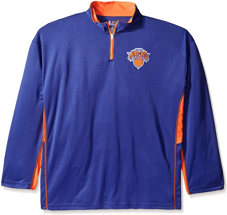 NBA New York Knicks Men's Long Sleeved Zipper Pieced Poly Jersey, 4X, Royal
