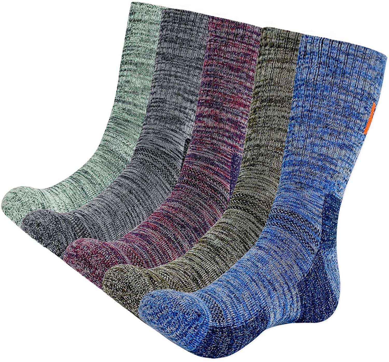 KONY 5 Pairs Men's Moisture Wicking Thick Cushioned Long Hiking Crew Socks, Multi Performance, All Season Gift
