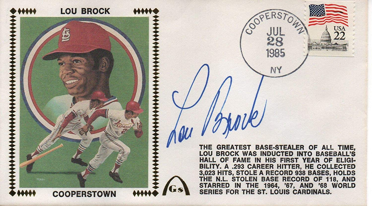 Lou Brock Autographed July 28, 1985 First Day Cover (JSA) - MLB Cut Signatures