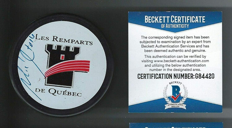 Michel Goulet Signed Quebec Remparts Puck Beckett COA Quebec Nordiques - Beckett Authentication - Autographed NHL Pucks