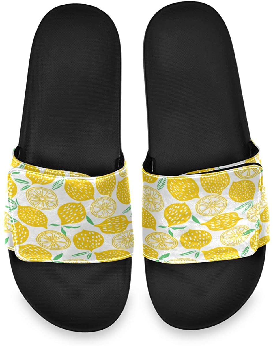 All agree Cartoon Cute Lemon Yellow Mens Summer Sandals Slide House Adjustable Slippers Wide Boys