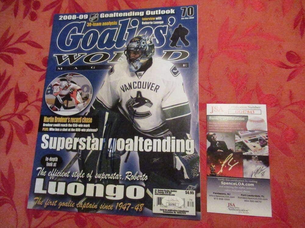 Roberto Luongo Signed Auto Autograph Goalies World Magazine Coa Pc1208 - JSA Certified - Autographed NHL Magazines