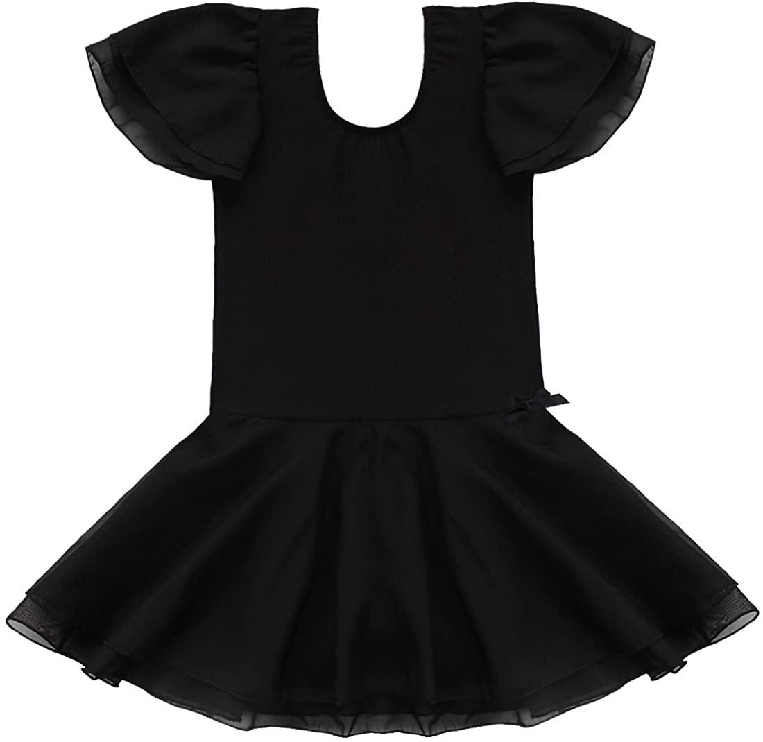 Freebily Kids Girls Flutter Sleeve Leotard Ballet Dance Tutu Dress Costumes