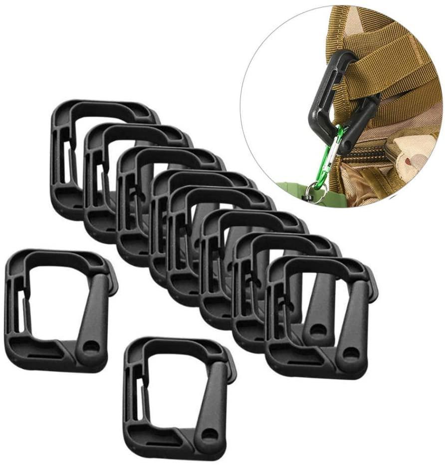 AKOAK 10 Pack Multipurpose Black D-Ring Plastic Buckle Locking Hanging Hooks Backpack Hanging Locks Snap Keychains for Backpack Straps Webbing Paracord Bracelet Outdoor Tool
