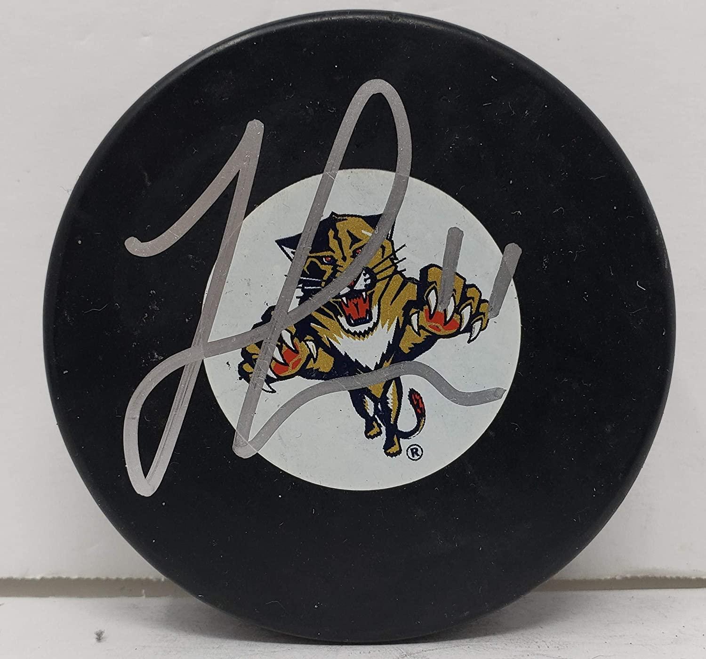 Jonathan Huberdeau signed Florida Panthers NHL Logo Hockey Puck w/Cube