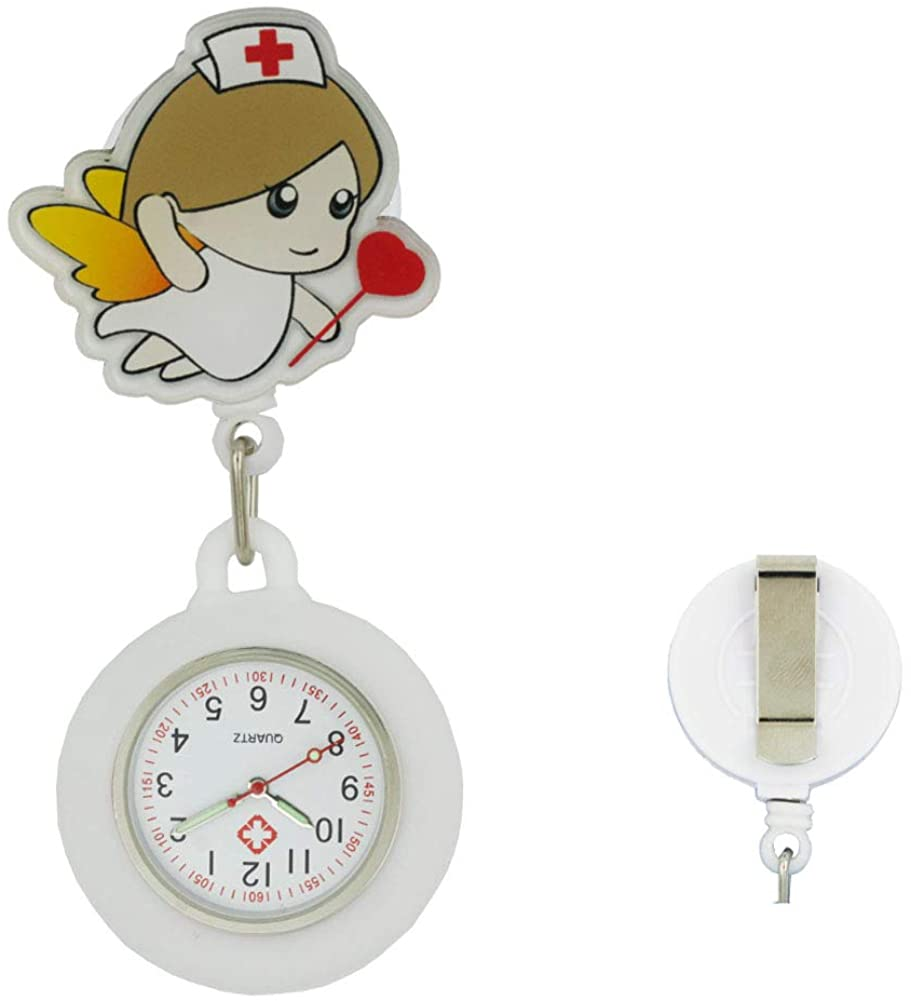 Phoenix Wonder Retractable Nurse Watch with Second Hand for Nurses Doctors Clip-on Hanging Lapel Watch Cute Cartoon Design Fob Pocket Watch, B10