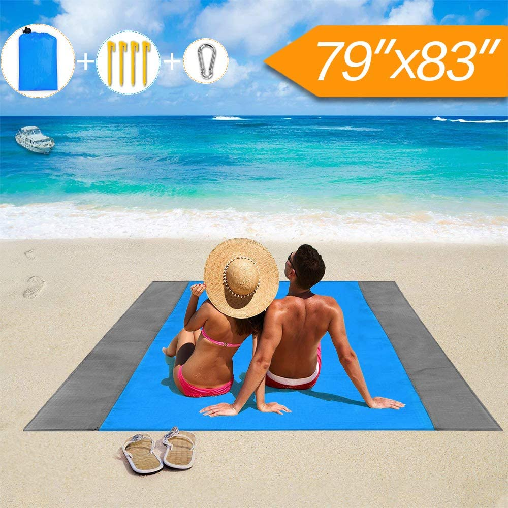GUARD Beach Blanket, Lightweight Beach Blankets Mat Waterproof Sand Proof Oversize Outdoor Blanket for Picnic Camping Hiking Travel Supplies Essentials Washable(79''×83'')