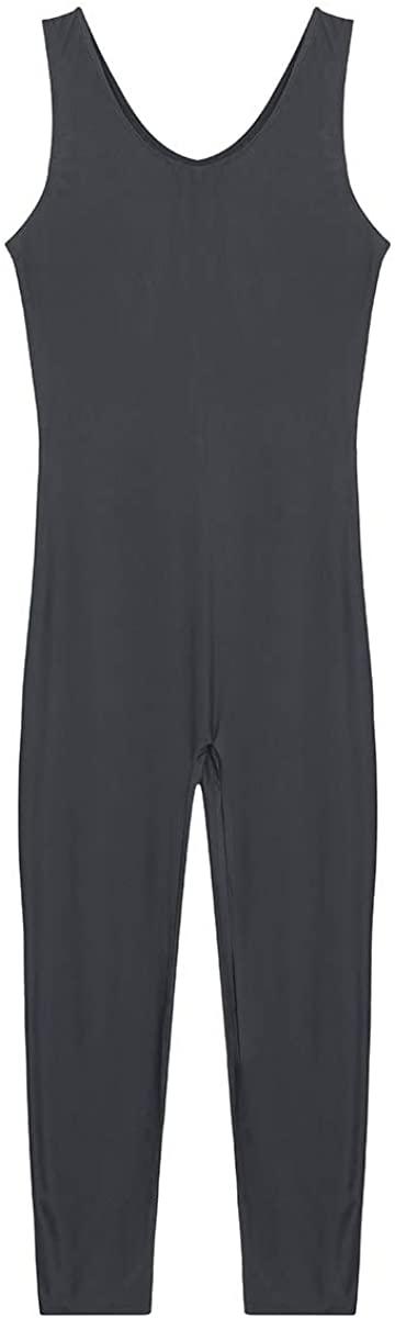 Agoky Men Gymnastics Leotard Sleeveless Bodysuit Tank Vest Skin-Tight Dancewear Jumpsuit