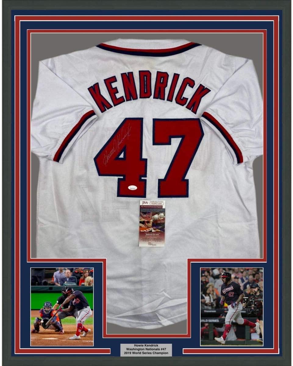Framed Autographed/Signed Howie Kendrick 33x42 Washington White Baseball Jersey JSA COA