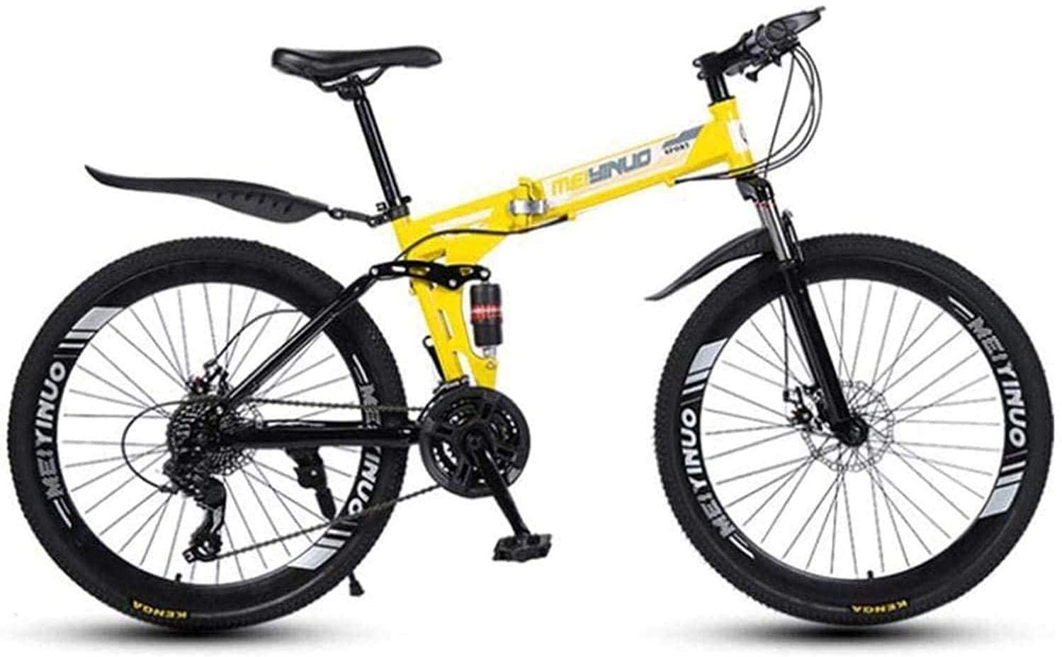 CSS Mountain Bike Folding Bikes, 26Inch 27-Speed Double Disc Brake Full Suspension Anti-Slip, Lightweight Aluminum Frame, Suspension Fork 7-10,27 Speed