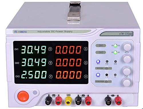 MeterTo 4-Digit LED Display Switch Adjustable Multi-Channel 3 Channel DC Power Supply eTM-3303D Voltage Current Power CH1, CH2, 0-30V, 0-3A CH3 2.5V/3.3V/5V Fixed, 3A max 90W 30V 3A