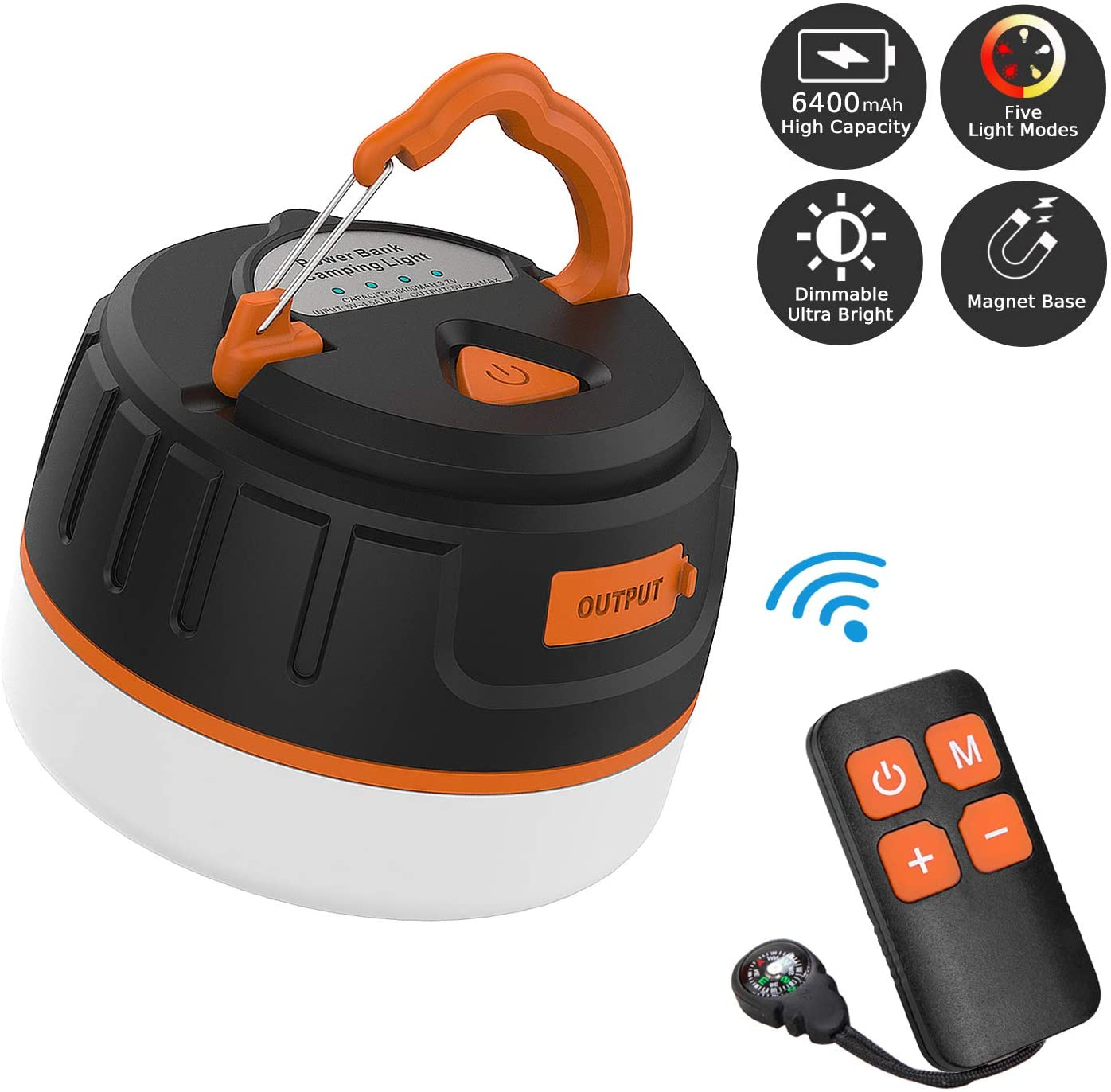 Sinvitron Portable Outdoor LED Camping Lantern Rechargeable, Power Bank 6400mAh, Camping Flashlight Tent Lights- Remote, Waterproof, Magnet Base, 5 Light Mode for Emergency Hurricane Outage Hiking