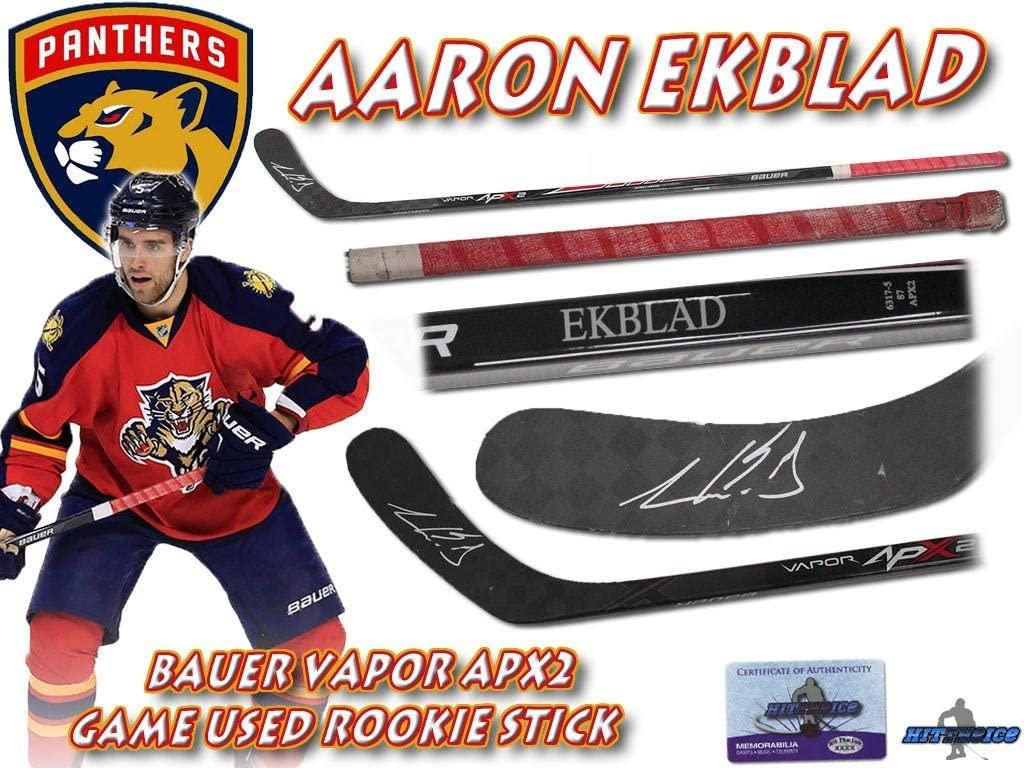AARON EKBLAD Signed FLORIDA PANTHERS Game Used Stick 2015 ROOKIE STICK - w/COA - Autographed NHL Sticks