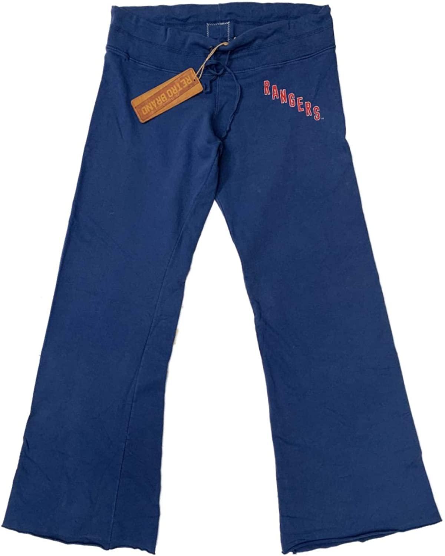 New York Rangers Retro Brand Women's Blue Raw Edge Drawstring Sweatpants (XL)
