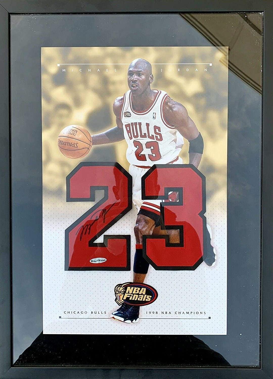 Signed Michael Jordan Jersey - 16x22 FRAMED 1998 Finals Champions Numbers - Upper Deck Certified - Autographed NBA Jerseys