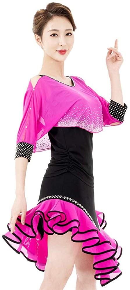Si Hyun Danceware Latin Tango Clothes Line Dance Zumbaware Jewels Pink Skirt+Tee Set Two Piece