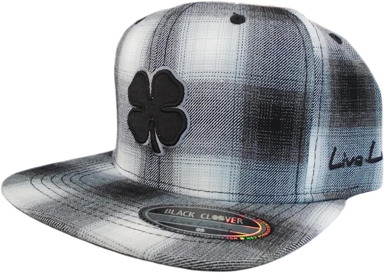 BLACK CLOVER New Flat Lucky Plaid Black/Grey Flatbill Adjustable Golf Hat/Cap