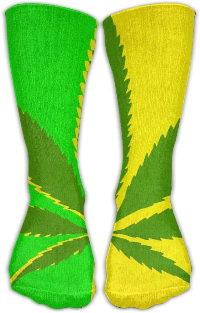 Pin-1 Cannabis Leaf Athletic Socks Novelty Running Long Sock Cotton Socks