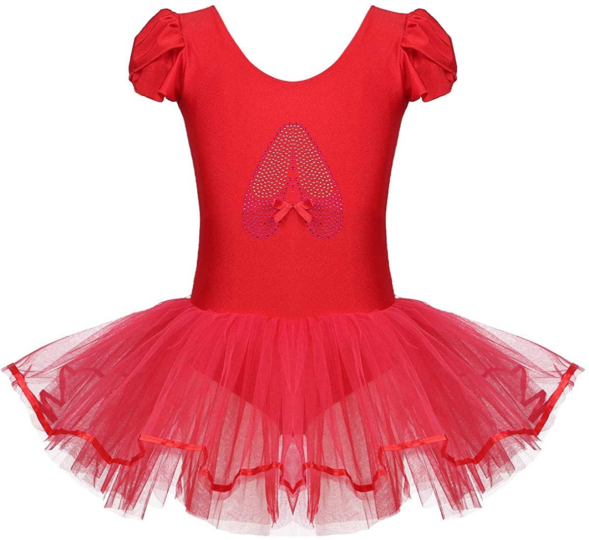 ACSUSS Kids Girls Ruffled Cap Sleeves Sequins Toes Print Ballet Tutu Dress Leotard Ballerina Athletic Dance Dress