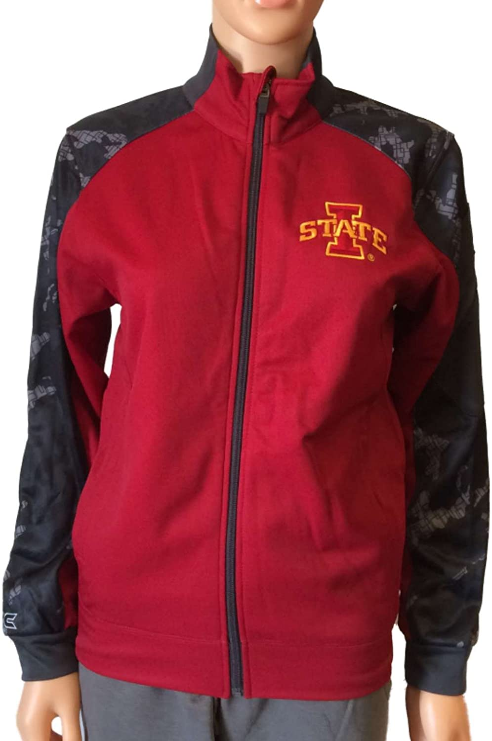 Colosseum Iowa State Cyclones Youth Red and Gray LS Full Zip Jacket (L)