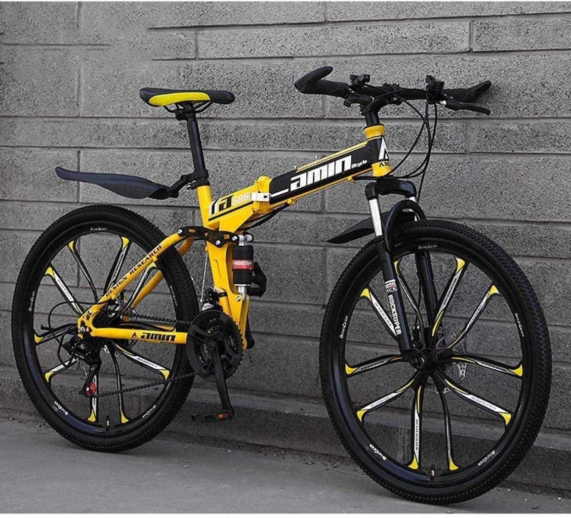 CSS Mountain Bike Folding Bikes, 26Inch 27-Speed Double Disc Brake Full Suspension Anti-Slip, Lightweight Aluminum Frame, Suspension Fork,Yellow,D 6-24