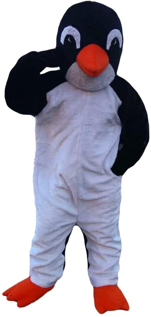 Black and White Penguin Mascot Costume Cartoon Character Adult Sz Real Picture