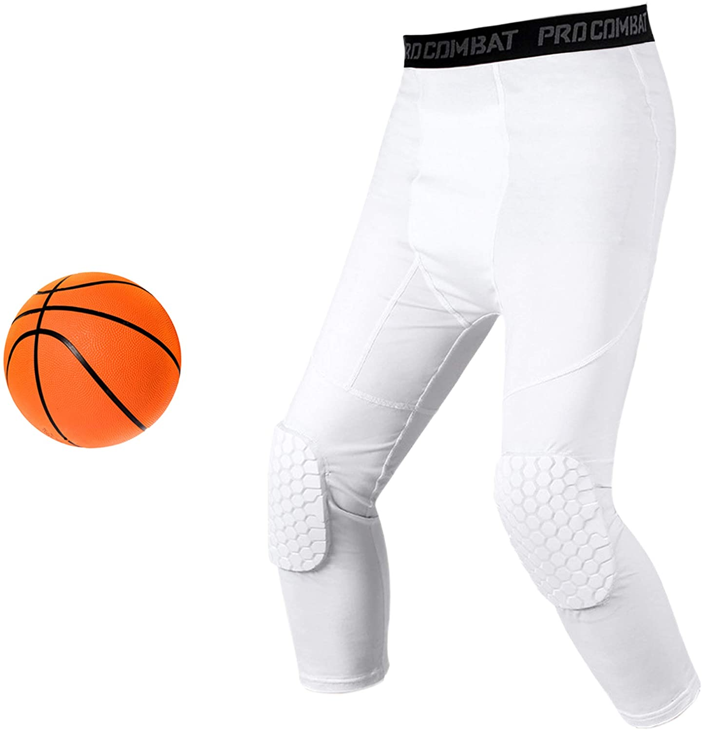 Basketball Compression Pants With Knee Pads, White 3/4 Capri Compression Pants Padded, Basketball Tights Leggings for Men Women Boys Girls, Youth Knee Pads for Basketball Softball Volleyball Soccer