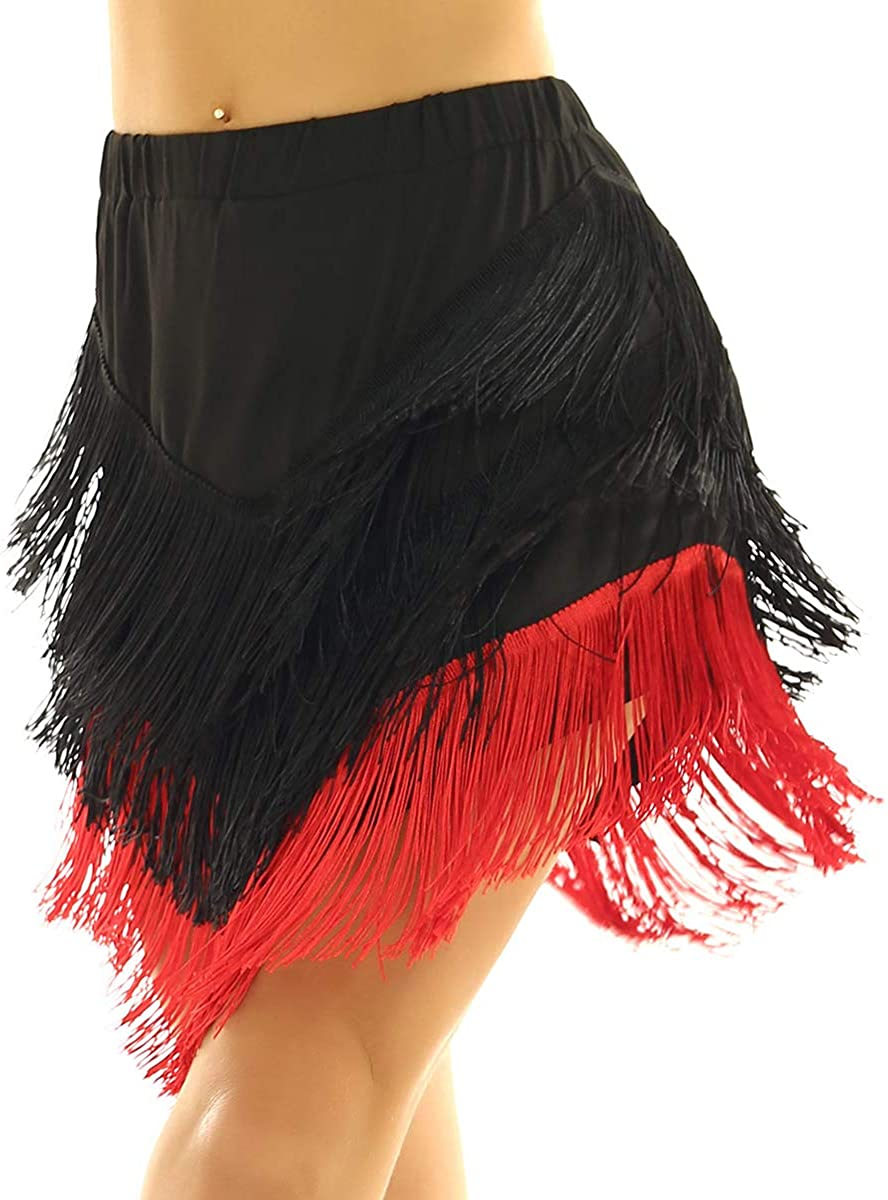 iEFiEL Women Asymmetric Latin Tango Ballroom Tassel Fringe Skirt Samba Salsa Dance Dress Dancewear with Shorts Inside
