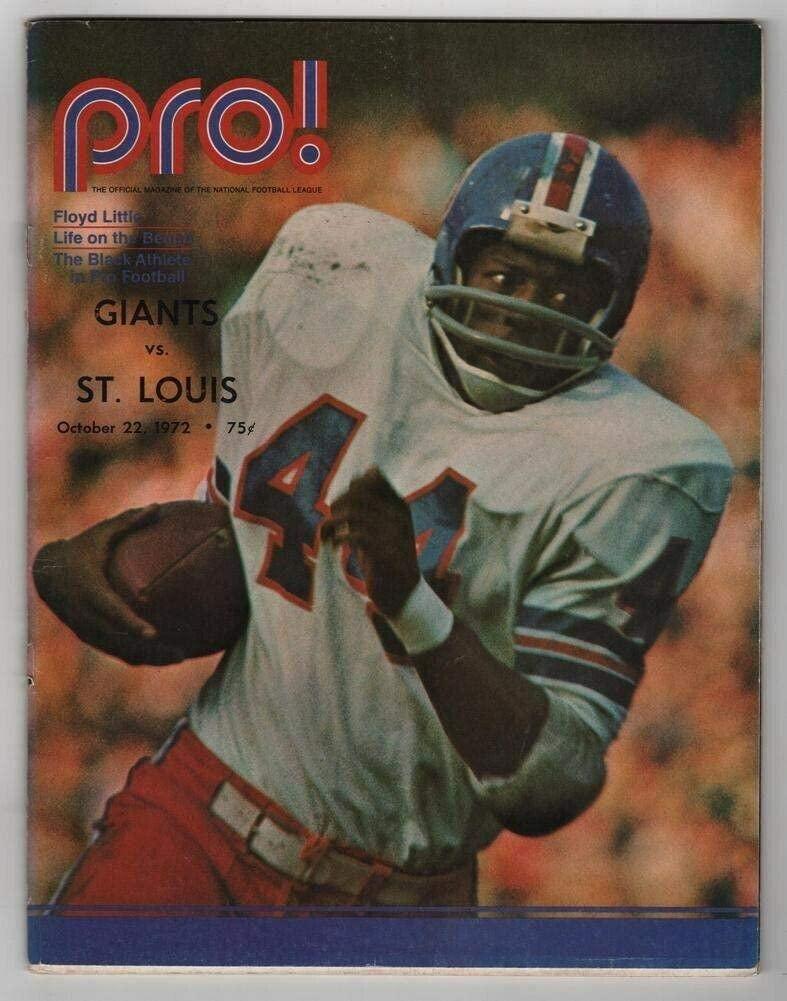 1972 NY Giants v St. Louis Cardinals Program 8/22 Floyd Little 49336b23 - NFL Programs