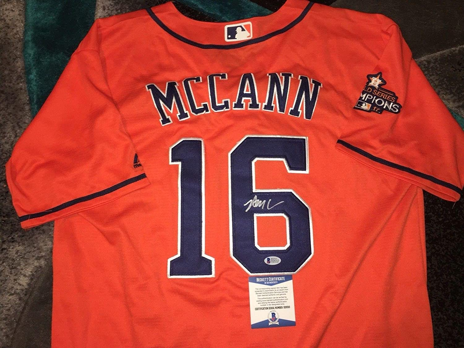 Brian McCann Autographed Jersey - Strong WS Champs Beckett - Beckett Authentication - Autographed MLB Jerseys
