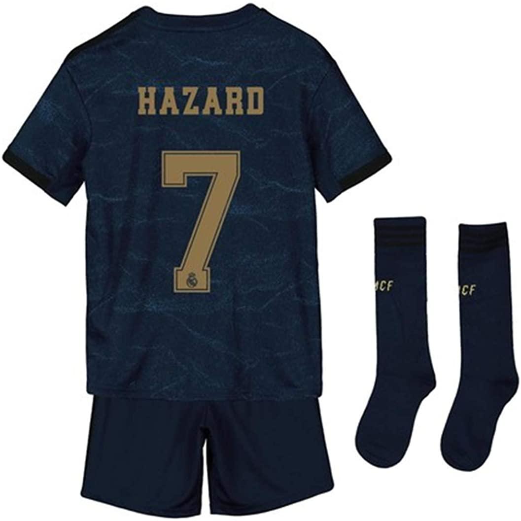 LISIMKEM Eden Hazard #7 2019-2020 Kids/Youths Away Soccer Jersey/Short/Socks Colour Navy