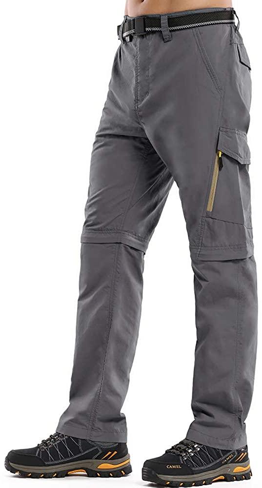 Mens Hiking Stretch Pants Convertible Quick Dry Lightweight Zip Off Outdoor Travel Safari Pants