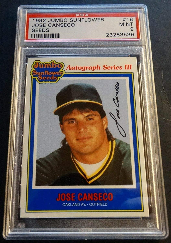 1992 JOSE CANSECO JUMBO SUNFLOWER SEEDS #18 PSA 9 ATHLETICS POP 1 (703)