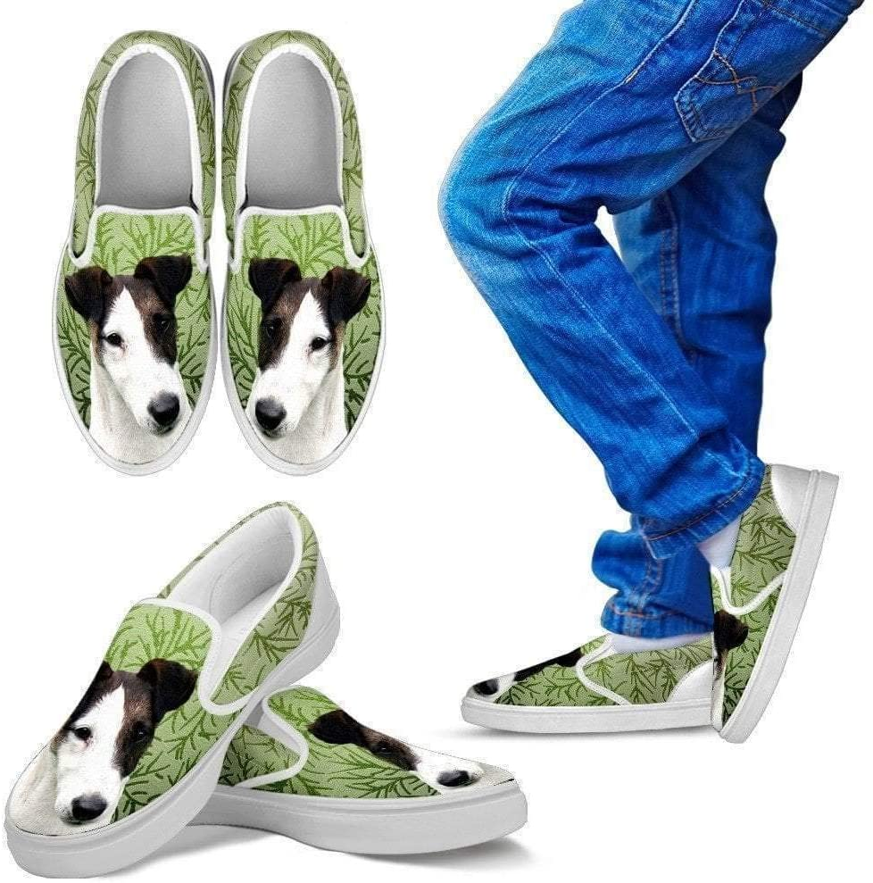 Paws With Attitude Smooth Fox Terrier Dog Print Slip Ons for Kids-Express Shipping