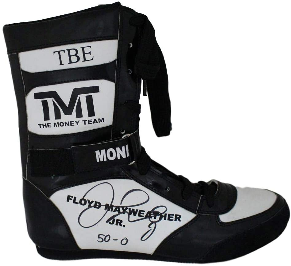 Floyd Mayweather Jr Autographed TMT TBE Black Right Boxing Shoe 50-0 BAS