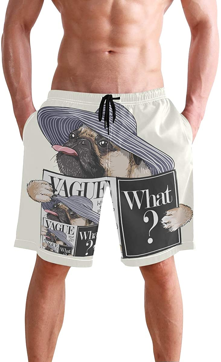 Mens Shorts Cute Funny Pug Reading Magazine What? Basketball Short Active Pants for Boys, S