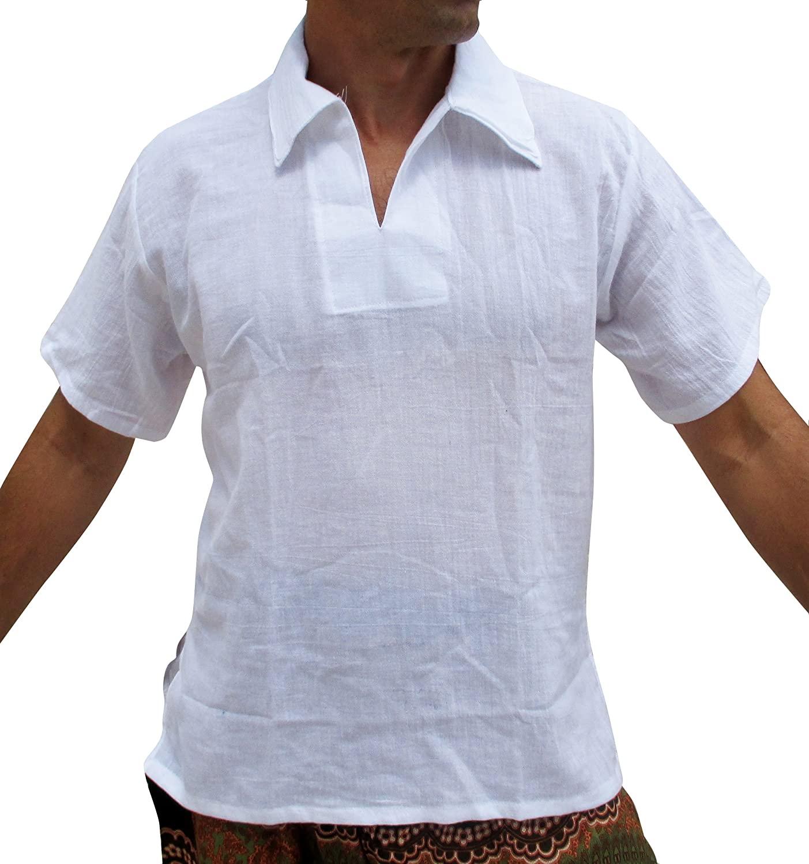 RaanPahMuang Basic Light Cotton Short Sleeve European Collar Beach Shirt Plus