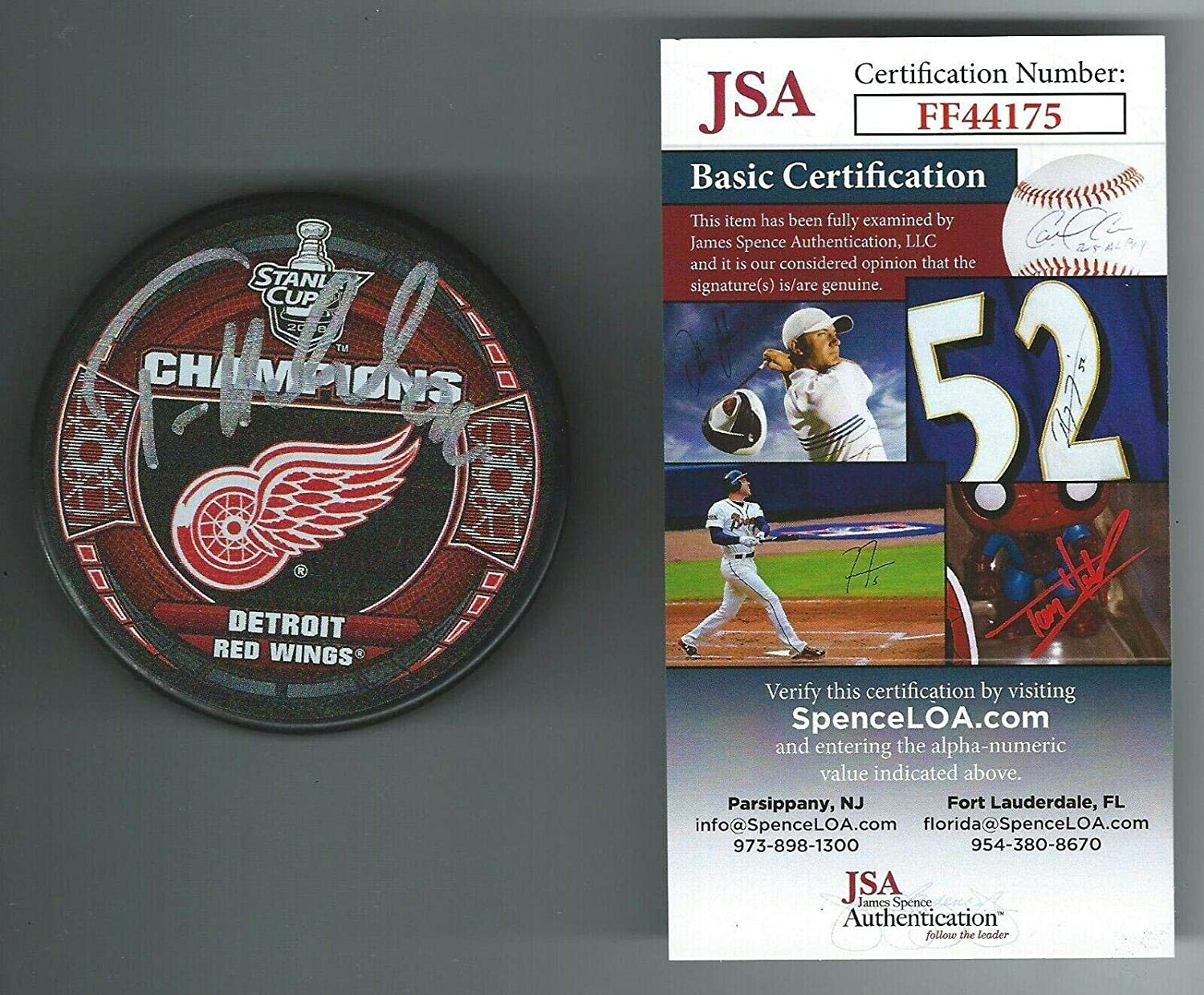Tomas Holmstrom Autographed Puck - 2008 Stanley Cup Champs COA - JSA Certified - Autographed NHL Pucks