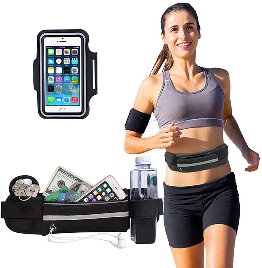 Running Belt Waist Pack, 2Pack Running Pouch Running Belt for Phone Adjustable Running Pouch Water Resistant Runners Belt with Running Armband