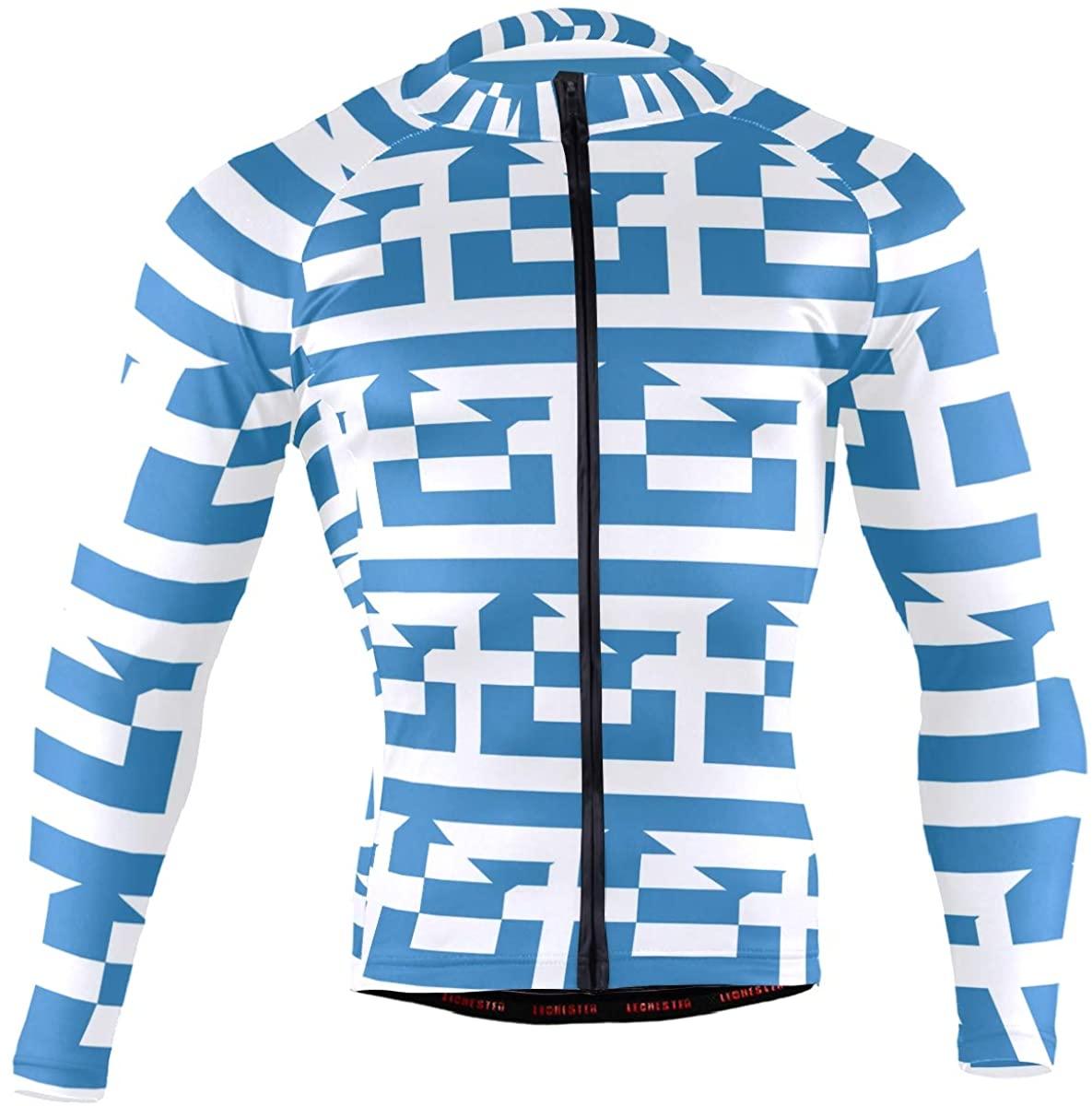 Greece Flag Men's Long Sleeve Cycling Jersey Bicycle Jacket Pockets Full Zipper Bike Biking Shirts
