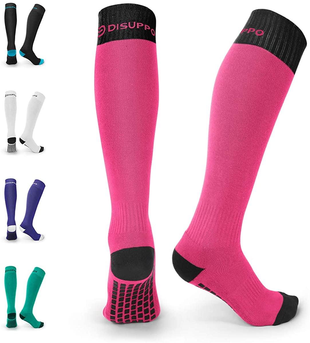 DISUPPO Soccer Socks, Non-slip Long Sport Socks for Men Women, Sports Team Cushioned Socks for Running, Football, Basketball