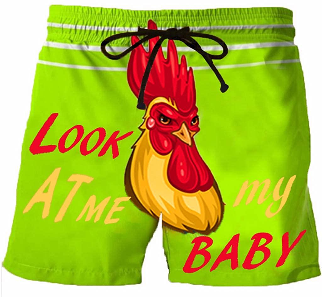 LEKODE Men Beach Shorts Drawstring Printed Pocket High Waist Swim Pants