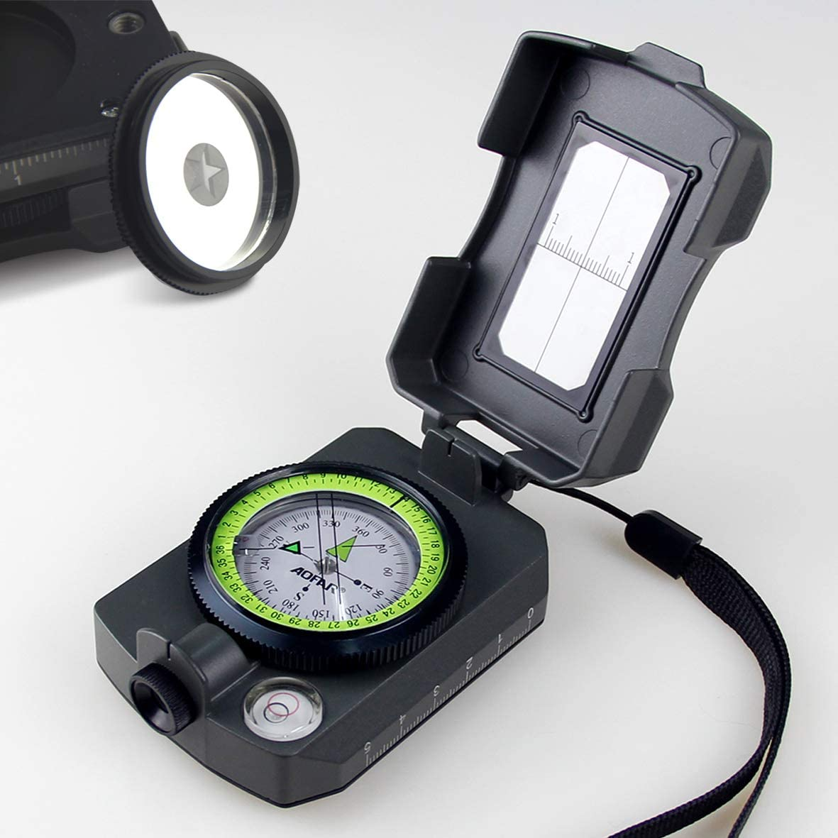 AOFAR AF-4090 Multifunctional Military Compass Waterproof and Shakeproof with Signal Mirror,Whistle,Fishing Hook and Line for Camping,Boy Scount,Geology Activities Boating