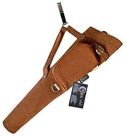 Carol Traditional Side/Hip/Belt/Waist Suede Leather Arrow Quiver AQ117 (RH) Brown