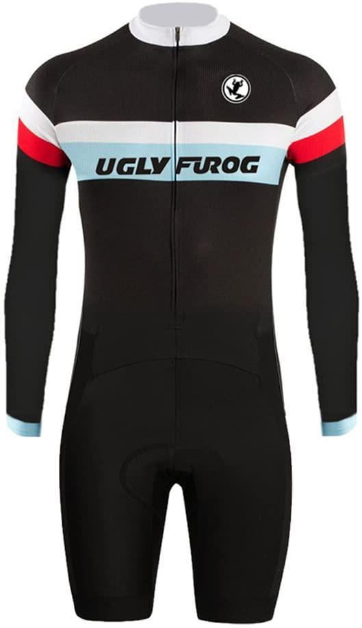 Uglyfrog Cycling Bike Skinsuit #01 with Gel Pad Long Sleeve Jersey-Short Legs Men's Outdoor Sports Wear Triathlon Clothes