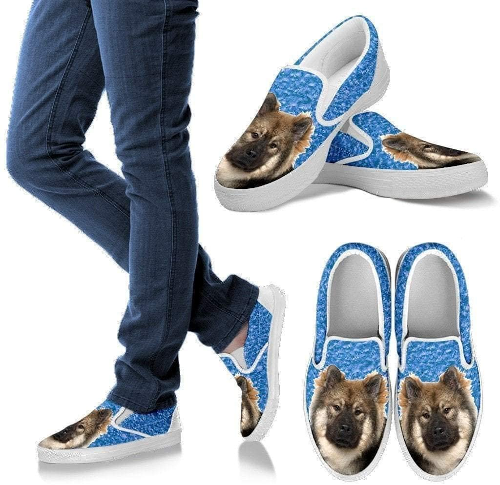 Paws With Attitude Eurasier Dog Print Slip Ons for Women-Express Shipping
