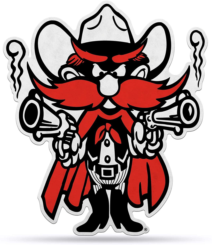 NCAA Texas Tech Red Raiders NCAA Mascot Shape Cut Pennant, Team color, Item footprint: 18