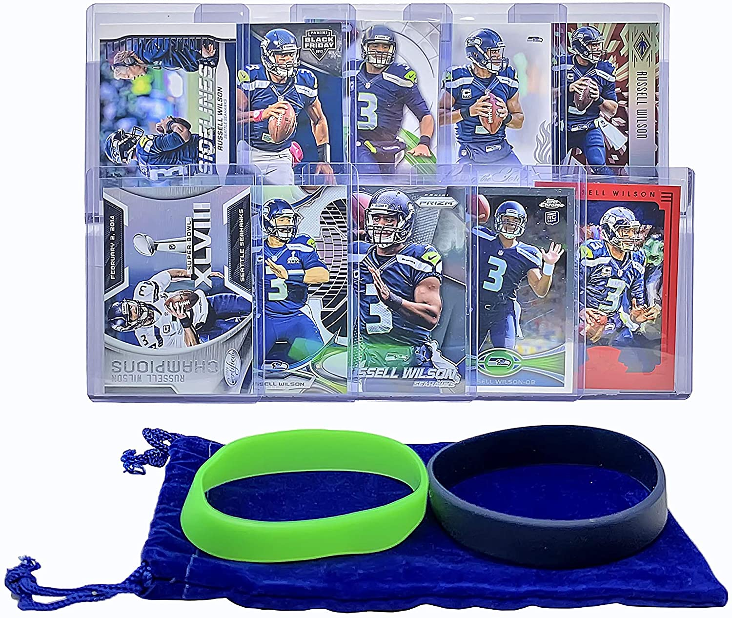 Russell Wilson (10) Assorted Football Cards Bundle - Seattle Seahawks Trading Card