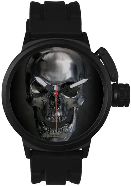 QUICKMUGS2U Metal Texture Skull Black Tone Men's Sports Analog Quartz Watch Large Face Wrist Business Casual Watch For Men Father